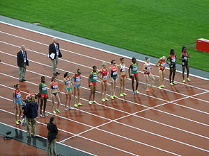 Athletics at the 2012 Summer Olympics – Women's 3000 metres steeplechase - The runners line-up