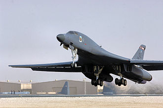 379th Expeditionary Operations Group - A B-1B Bomber takes off from the 379th Air Expeditionary Wing. B-1s from the 34th Expeditionary Bomb Squadron were once again called on to increase operations in support of ground forces in Afghanistan through precision bombing and shows of force and presence.