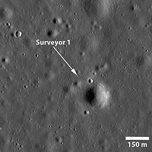 Surveyor 1 - Surveyor 1 photographed by the Lunar Reconnaissance Orbiter in 2009