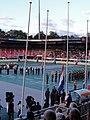 4-daagse Nijmegen 2011 Vlaggenparade 07, vlag hijsen.JPG