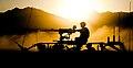 40 Commando Royal Marines in Afghan Sunset at End of Op Herrick 12 MOD 45151960.jpg