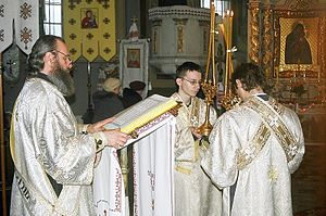 Subdeacon - Subdeacons holding the episcopal candles while deacon reads the Gospel