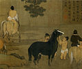 9c Zhao Mengfu. Bathing Horses. 1312. 28.1 x 155.5 cm Detail of the scroll. Palace Museum, Beijing.jpg