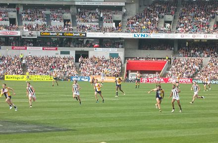 2014 AFL premiership match between West Coast Eagles and Collingwood being played at Patersons Stadium, Subiaco AFL WCE VS COLLINGWOOD.JPG