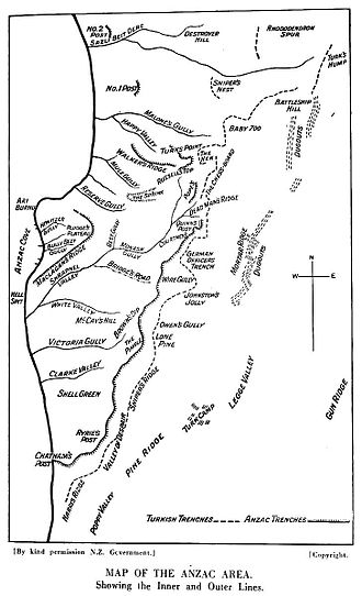 Third attack on Anzac Cove - ANZAC beachhead, No.2 Post in the north, Chatham's Post in the south. Turkish trenches are shown by the dotted line.