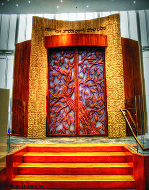 Lincoln Square Synagogue - The Torah ark (Aron Kodesh), the aesthetic and spiritual focal-point of Lincoln Square Synagogue's new sanctuary, designed by David Ascalon.