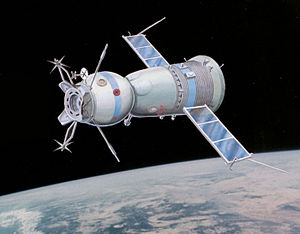 Soyuz programme - Artist's impression of the Soyuz 19 spacecraft from the Apollo–Soyuz Test Project.