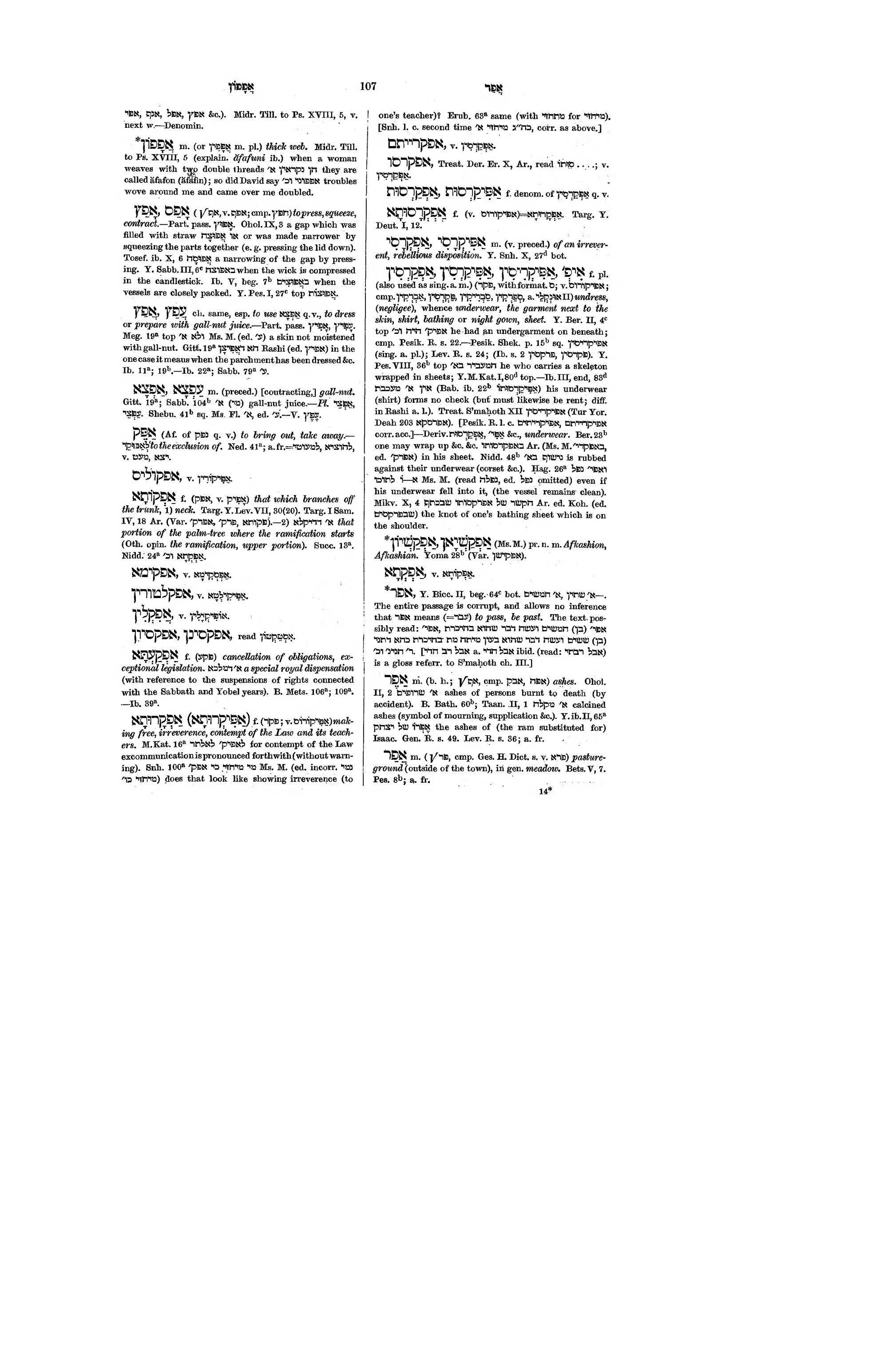 Pagea Dictionary Of The Targumim The Talmud Babli And Yerushalmi