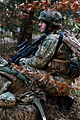 A Georgian soldier with Scouts Platoon, Delta Company, Special Mountain Battalion conducts reconnaissance operations Feb. 14, 2014, during Georgian Mission Rehearsal Exercise (MRE) 14-02B at the Joint 140214-A-HJ139-001.jpg
