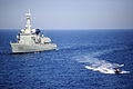 A Portuguese navy VBSS team in a rigid-hull inflatable boat leaves the NRP Bartolomeu Dias.jpg