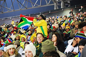 Loftus Versfeld Stadium - A South African fan plays his vuvuzela, June 2010