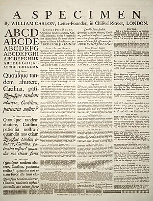 Writing system - A Specimen of typefaces and styles, by William Caslon, letter founder; from the 1728 Cyclopaedia