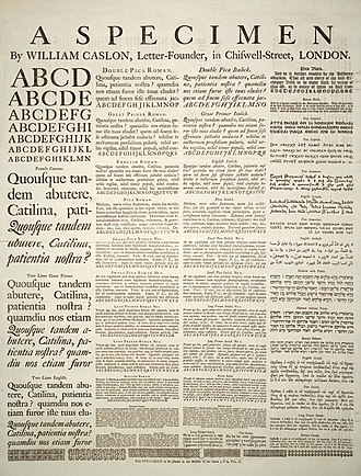 Typeface - A Specimen, a broadsheet with examples of typefaces and fonts available. Printed by William Caslon, letter founder; from the 1728 Cyclopaedia.