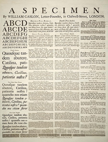 A Specimen of typeset fonts and languages, by William Caslon, letter founder; from the 1728 Cyclopaedia A Specimen by William Caslon.jpg