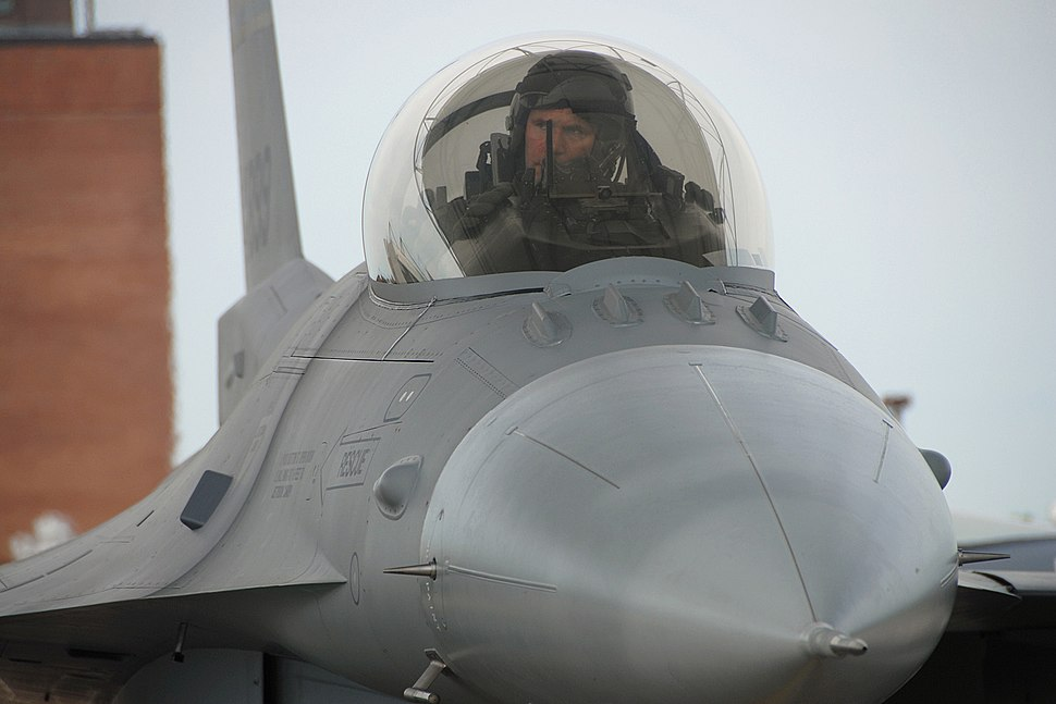 A U.S. Air Force Airman from the 169th Fighter Wing conducts post flight tasks in an F-16 Fighting Falcon aircraft during a phase II operational readiness evaluation at McEntire Joint National Guard Base, S.C. 080412-F-WT236-013