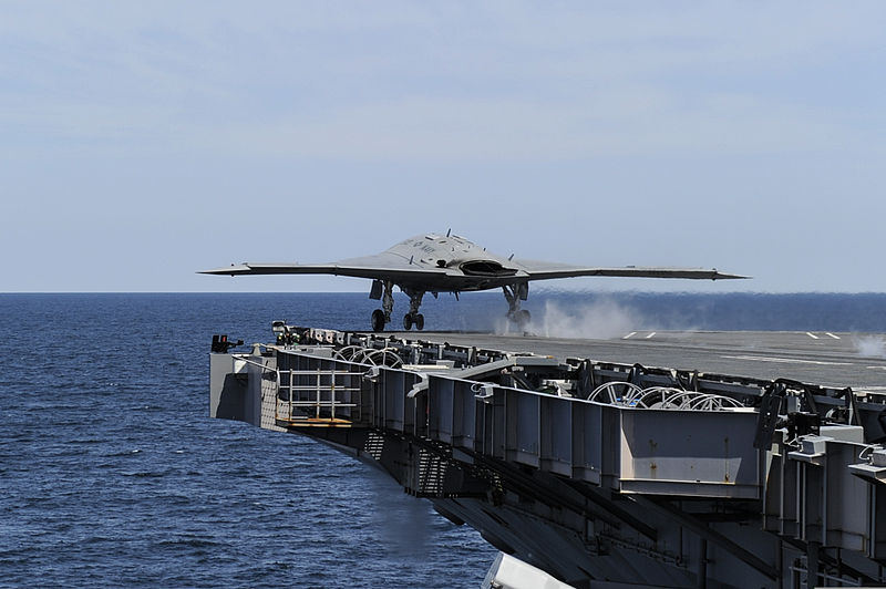 A U.S. Navy X-47B Unmanned Combat Air System demonstrator aircraft takes off from the aircraft carrier USS George H.W. Bush (CVN 77) May 14, 2013, in the Atlantic Ocean 130514-O-ZZ999-003.jpg