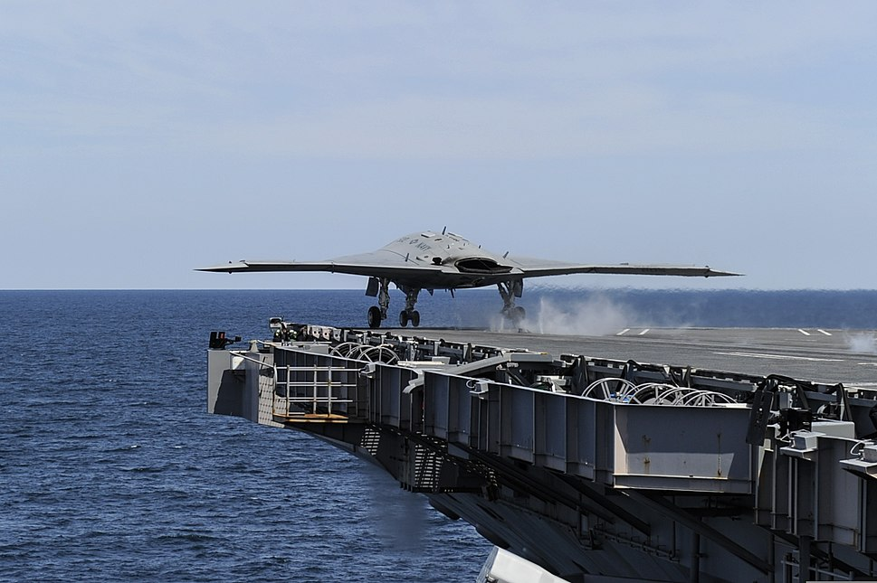 A U.S. Navy X-47B Unmanned Combat Air System demonstrator aircraft takes off from the aircraft carrier USS George H.W. Bush (CVN 77) May 14, 2013, in the Atlantic Ocean 130514-O-ZZ999-003