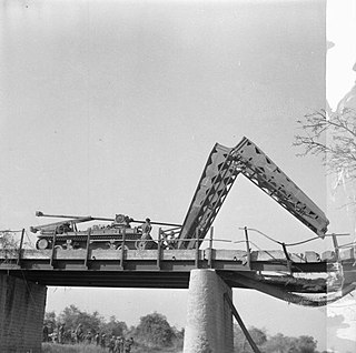 Armoured vehicle-launched bridge portable military bridge carried and emplaced by an armored vehicle