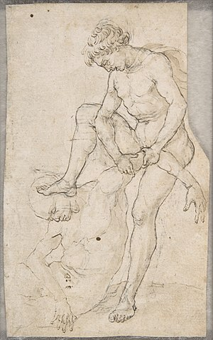 Maso Finiguerra - A Warrior Subduing Another, drawing