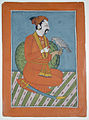 A kneeling raja with his falcon (6124584285).jpg