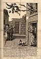 A man is blown out of a window by an enema. Engraving. Wellcome V0011664.jpg