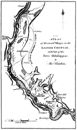Thomas Hutchins map of settlements in the Illinois Country in 1778 A plan of the several villages in the illinois country.png