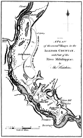American Bottom - Map of the villages of the American Bottom as they appeared in the late 18th century
