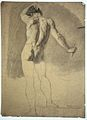 A standing male nude seen from the rear. Black chalk drawing Wellcome L0020558.jpg