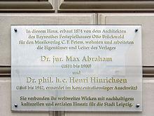 Erinnerungstafel an Max Abraham, Leipzig, Talstraße 10 (Quelle: Wikimedia)