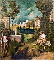 Oil painting. A mysterious landscape with Classical ruins. A man stands to the left, and to the right a nude woman feeds a baby