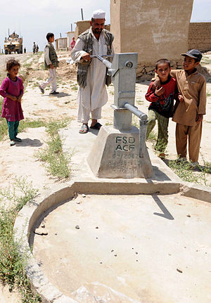 Water supply in Afghanistan - A hand pump in Parwan Province, which is very common in most parts of Afghanistan.