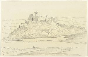 Agori Fort - Back view of Agori Fort. Pencil drawing of the Fort in December 1868, by Stanley Leighton