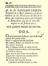 José Prego de Oliver: Al Sr. D. Santiago Liniers