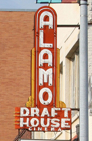 The Alamo Drafthouse sign outside of the origi...