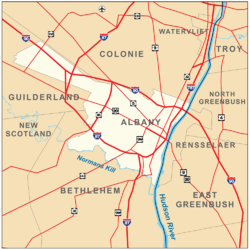 Map shows Albany on the west bank of the Hudson, surrounded by the towns of Colonie, Guilderland, and Bethlehem. Roads are also shown. Interstates 90, 87, and 787 pass through the city boundaries.