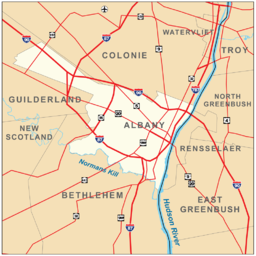 Map shows the city of Albany on the west bank of the Hudson surrounded by the towns of Colonie Guilderland and Bethlehem. Roads are also shown. Interstates 90 87 and 787 pass through the city boundaries.