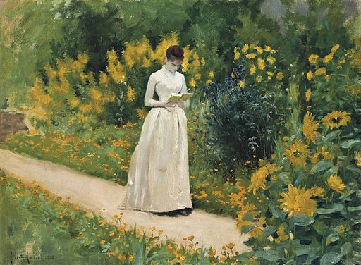 Albert Aublet - Reading on the garden path (1883)
