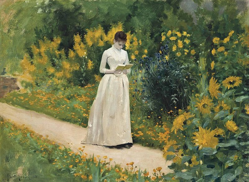 File:Albert Aublet - Reading on the garden path (1883).jpg