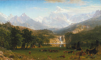 Visual art of the United States - Albert Bierstadt, The Rocky Mountains, Lander's Peak, 1863, Metropolitan Museum of Art: an example of the Hudson River School