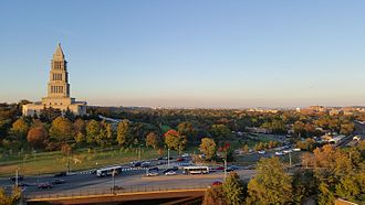 Alexandria, Virginia - The George Washington Masonic National Memorial in 2015, with Washington, D.C. and Arlington in the distance