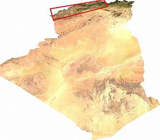 Algerian wine - Location (in red box) of Algeria's main wine producing areas.