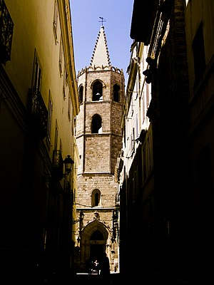 Catalan Gothic cathedral's bell tower in Alghe...