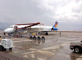 Phoenix–Mesa Gateway Airport - An Allegiant Air McDonnell Douglas MD-83 on the apron.