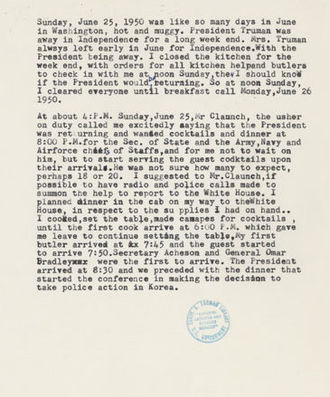 Alonzo Fields - Page from Alonzo Fields's personal papers. This one describes his conduction of a service-event that resulted in Truman's decision to enter the Korean War.