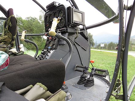 Cockpit and flying controls of an Alouette III Alouette3 cockpit1.jpg