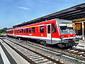 Alzeyer Bahnhof- auf Bahnsteig zu Gleis 2- Richtung Mainz (RB 928 486) 22.7.2009.JPG