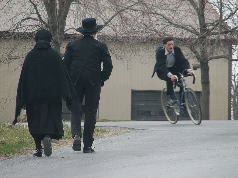 File:Amish - walking and biking by Gadjoboy.jpg