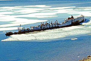 Amundsen's Maud (shipwreck from 1930) near Cam...