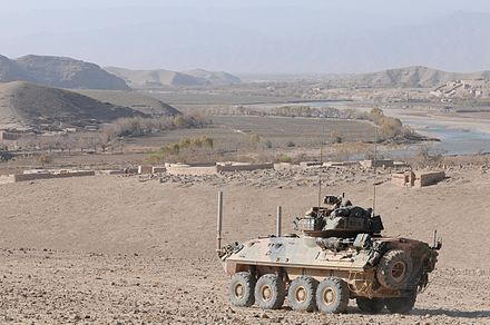 An ASLAV providing security for ground troops in the Tangi Valley in 2010. An ASLAV in a defensive position in Afghanistan during 2010.jpg