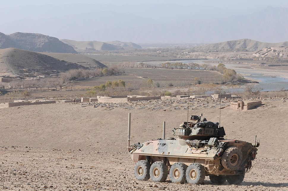 An ASLAV in a defensive position in Afghanistan during 2010